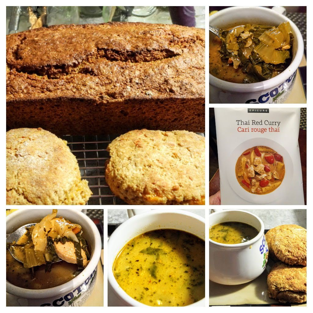 Thai Red Curry Soup, Cheese Biscuits, and Pumpkin Harvest Loaf